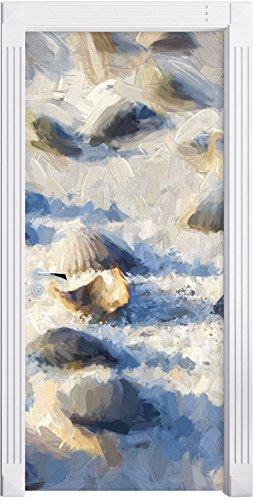Preisvergleich Produktbild Muscheln im Sand Kunst Pinsel Effekt als Türtapete, Format: 200x90cm, Türbild, Türaufkleber, Tür Deko, Türsticker