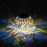 Solar Lights GRDE® LED Solar Powered Mosaic Light, Colour Changing Night Light, Auto On/Off and Weatherproof Crystal Glass bedside Lamp for Bedroom, Party, Garden, Indoor/Outdoor Lighting Decoration, Gift for Kids or Adults (Multi)