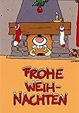 Witzige Weihnachtskarte Rentier im Kamin