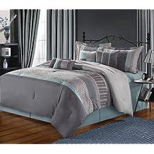 Chic Home 8-piece Euphoria embroidered Comforter set, Queen, grigio