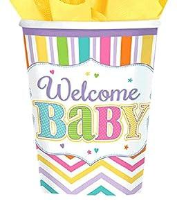 Amscan 731488266ml vasos de papel brillante de bebé