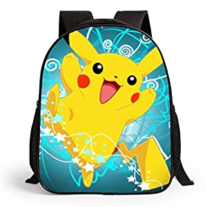 Pokemon Mochila para niños, Adolescentes y niñas 3D Cartoon Pikachu School Bags Mujer Funny Pokeball Mochilas Hombre Pokemon Go Travel Rucksacks Bookbags Adulto Bolsa de Hombro Daypack Merchandise