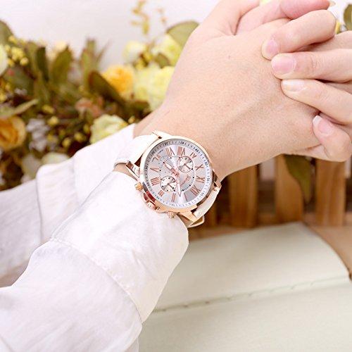 JSDDE Uhren,Genf Freundschafts Partner-Armbanduhr Römischen Ziffern Analog Quarzuhr Chrono Armbanduhr Paaruhren (x2)