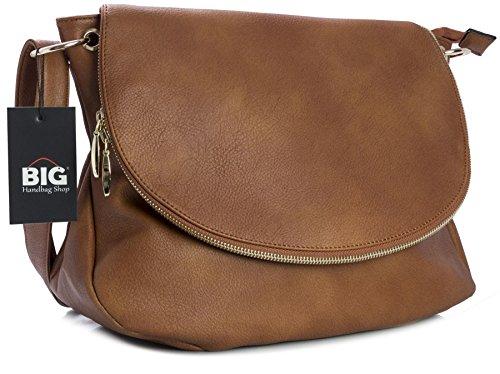 Big Handbag Shop - Borsa a tracolla donna (Medium Tan (BH471))