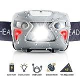 [Neueste]Fukkie LED Stirnlampe, Wiederaufladbare Kopflampe mit Gestensteuerung, 8 Lichtmodi, Verstellbares Band, 1200mAh und USB Kabel, Wasserdicht 150LM Ideal für Joggen, Radfahren, Wandern und mehr