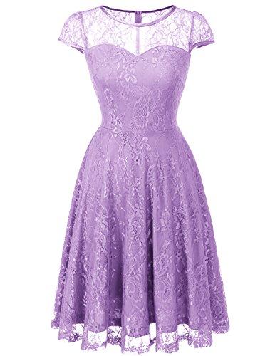 Dresstells Damen Spitzenkleid Cap Sleeves Elegant Brautjungfernkleid Abendkleid Lavender 3XL