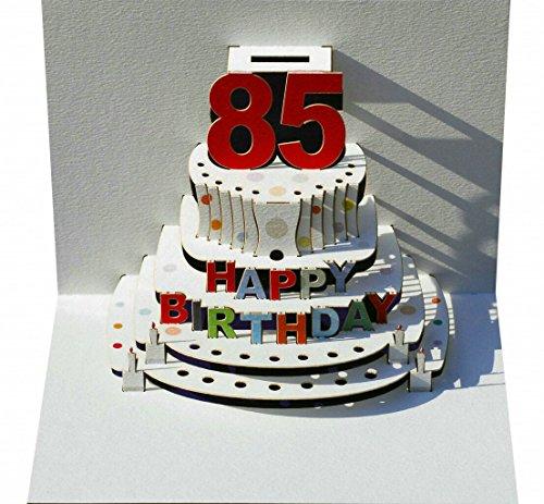Pop Up 3D Karte Geburtstagskarte 85 Geburtstag Gutschein Torte 16x11cm