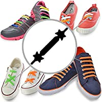 No Tie Laces - Kid Set - Black - Best Elastic Silicone Shoelaces with Special Design to Easy Pull & Lock - Waterproof & Super Easy To Clean