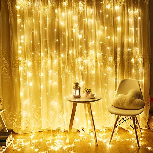 Catena Luminosa - 12 Catene Luminose con 300 LED, Dimmerabile Catena Luminosa con Multi Modi, Catena di Rame Basso Consumo Super Sicuro, Impermeabile IP44 da Tenda Casa Giardino Festa