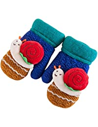 Tinksky Fingerless Wool Knit Fleece Gants doublés Mitaines Snail Decor Winter Hand Warmer Cadeau d'anniversaire de Noël pour enfants Baby (Royal Blue)