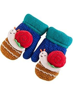 Tinksky Fingerless lana de punto de lana forrado guantes guantes mitones caracol Decoración mano de invierno Warmer...