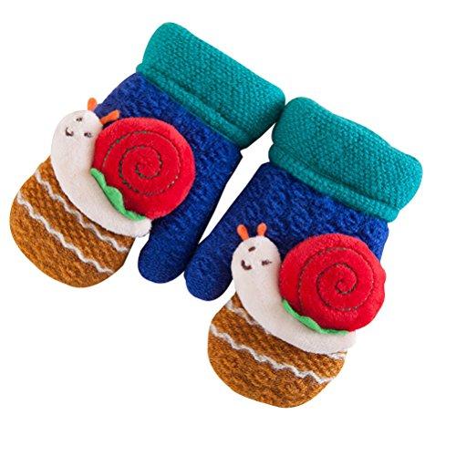 handschuhe Fäustlinge Fingerlose Fleece Gefüttert Fäustlinge Winter Handwärmer Schnecke Dekor für Kinder Baby Geschenke (Royal Blue) (Kinder Winter Handwerk)