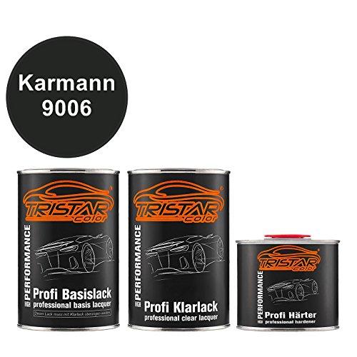 TRISTARcolor Autolack Set Dose spritzfertig Karmann 9006 Tiefschwarz Basislack + 2K Klarlack 2,5L