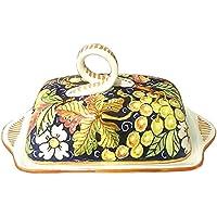 CERAMICHE D'ARTE PARRINI- Ceramica italiana artistica , burriera decorazione frutta, dipinto a mano , made in ITALY Toscana