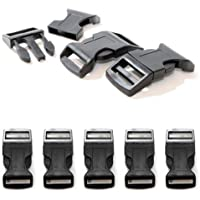 """5er SET 1"""" Klickverschluss / Klippverschluss XL (Steckschließer) aus Kunststoff für Paracord Armbänder, Kordeln etc., 65mm x 32mm, Farbe: Schwarz - Marke Ganzoo"""