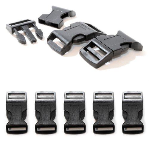 Klickverschluss aus Kunststoff im 5er Set, Klippverschluss/Steckschließer/Steckverschluss für Paracord-Armbänder, Hunde-Halsbänder, Rucksack, Farbe: schwarz