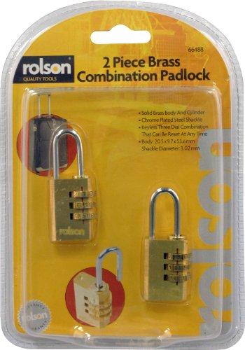 Rolson 66488 - Lucchetto a combinazione in ottone, confezione da 2 pezzi