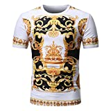 BURFLY Print T-Shirt Herren 2018 Neueste Männer Sommer Casual African Print O Hals Pullover Kurzarm T-Shirt Top Bluse Fashion Streetwear (M, Mehrfarbig)