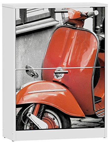 Commode-meuble--chaussures-de-2-portes-laqu-blanc-motif-Vespa-rouge-600-x-242-x-820-mm-PEGANE