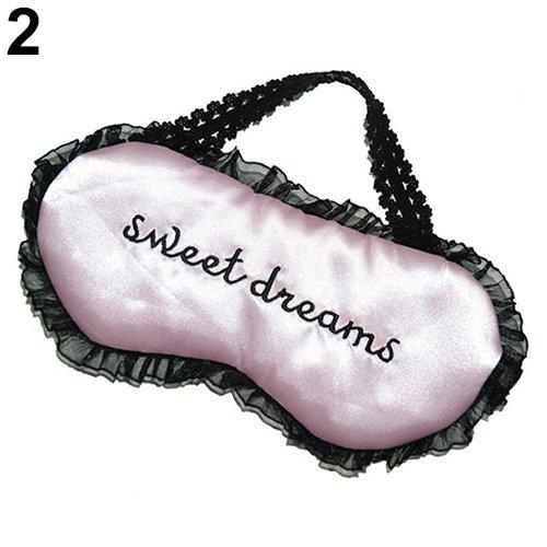 Sukisuki Sweet Dreams Stickerei Buchstaben Augen Abdeckung Spitze Schatten Augenmaske Augenmaske Schlafhilfe, Rose - Sweet Dreams Auge