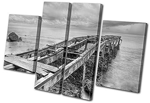 Bold Bloc Design - Sunset Seascape Abandoned Pier - 280x180cm Boîte de tirage d'Art toile encadrée photo Wall Hanging - à la main dans le UK - encadré et prêt à accrocher - Canvas Art Print