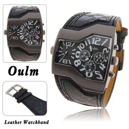Oulm Militär Herren-Armbanduhr mit Dual Movt Zifferblatt Leder Band
