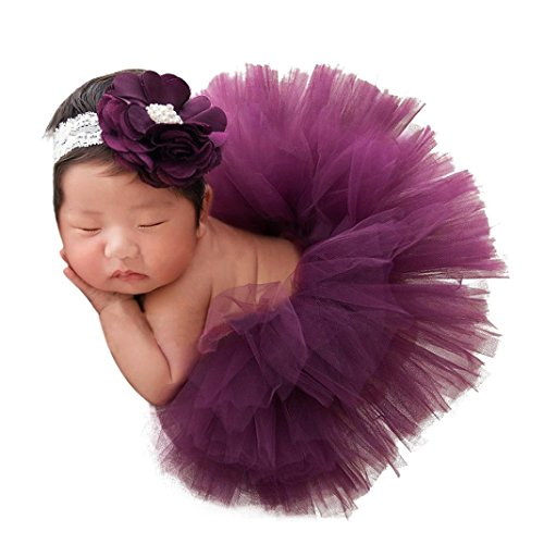 (Babykleidung URSING Kleinkind Neugeborenes 0-4 Monate Spitzen Set Kleider Foto Stütze Jahrestag Outfits Photography Prop Baby spitzenkleid Tutu Rock mit Gummiband (D))