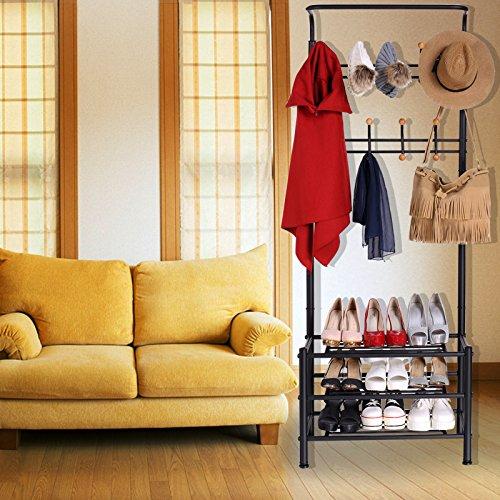 Uniqus Homdox Metal Clothes Rack Hat Coat Hanger 3 Tiers Shoes Shelf Organizer Shelves Hanger Stand Hanging Hooks -