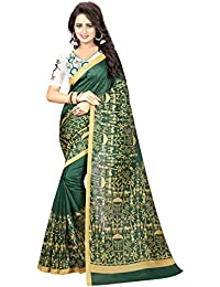 Muskaan Sarees Women's Cotton Silk Saree With Blouse Piece (FB632_Green)