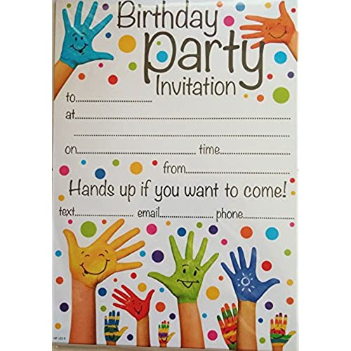 Birthday invitation cards amazon simon elvin open party invitation hands up design pack of 20 invites envelopes stopboris Choice Image
