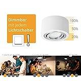 Flacher Decken-Aufbau-Spot rund, weiß & schwenkbar inkl. fourSTEP LED Modul wechselbar (5W 420lm 2700K) - Dimmen ohne Dimmer