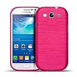Samsung Galaxy S3 Neo, S3 TPU Gummi Hülle Pink, Metall Optik Brush Design, Schutzcover Bumper, Handyhülle aus Silikon Galaxy S3 Neo, S3 Cover Rückschale Pink, Samsung Galaxy S3 Neo, S3 (4,8 Zoll (12,2 cm)