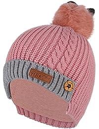 GEMVIE Bonnet Enfant 12 Mois-5 Ans Avec Pompon Hiver Chaud Chapeau Cagoule  Cache Oreille 306deda9700