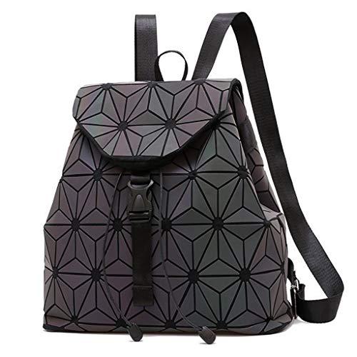LIUWB Damenrucksack Modischer leuchtender Faltenrucksack Bunte geometrische Umhängetasche Koreanische Version des rautenförmigen Rucksacks (Color : C, Size : 34 * 15 * 29cm)