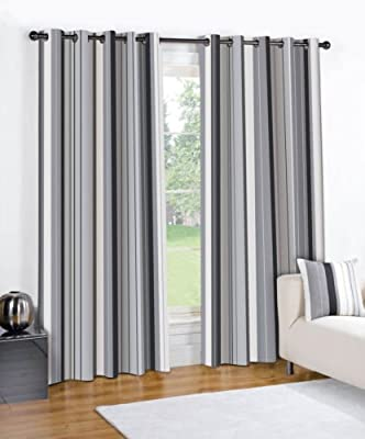 Striped Black Cream Grey Pair Lined Eyelet Ring Top Curtains