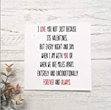 Romantic valentines day card for husband, wife boyfriend or girlfriend.