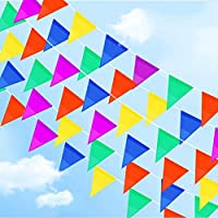 walolo 100-Meter Multicolor Bunting Banner 150 Double Sided Nylon Pennant Banners Flag Outside Party Banner for Wedding Birthday Party Garden