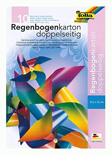 folia 775 - Mappe mit Regenbogenkarton, glänzend, zweiseitig bedruckt, 10 Blatt, 200 g/qm, ca. 22,5 x 32 cm, farbig sortiert, ideal für Windräder und andere farbenfrohe Bastelarbeiten