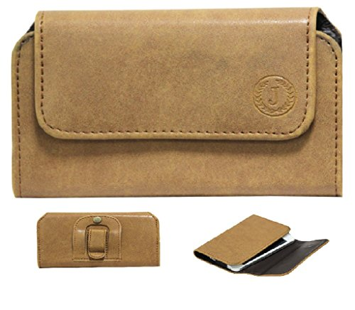Brain Freezer Leather Carry Pouch Holder J A4 Nilofer Belt Clip for Lenovo Phab 2 Plus (Tan)