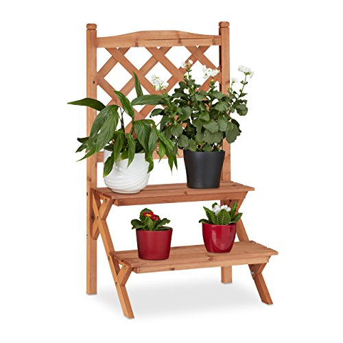 Relaxdays Blumentreppe mit Rankgitter, 2 Stufen, für Blumentöpfe & Kletterpflanzen, Tannenholz, HBT: 89x51x40cm, natur -