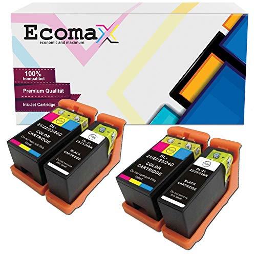 Ecomax 4 Druckerpatronen kompatibel zu Dell 21 22 23 24 für Dell P513W P713W V313 V313W V513W V515W V51 V715W