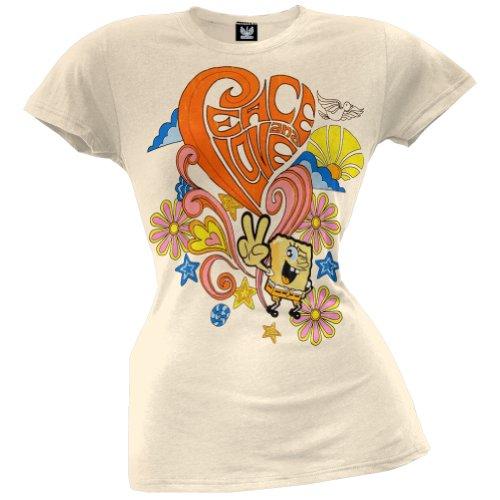 Spongebob Schwammkopf–Peace & Love Junioren T-Shirt Gr. X-Large, beige (Spongebob Schwammkopf-kleidung)
