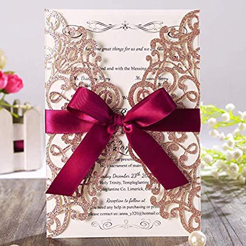 AOWEIRILUV 100 Stück Rose Golden Wedding Einladungskarten mit Band und Umschläge für Bridal Engagement Party (Einladungen Elegante Dusche Bridal)