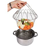 Swarish Chef Basket 12 In 1 Kitchen Tool For Cooking Deep Fry Boiling Steaming Poaching Blanching Cooking Colander Straining Rinsing Draining Storing Solid Steel Dishwasher Safe Folds Flat For Easy Storage