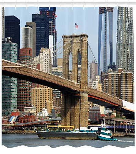 Abakuhaus Städtisch Duschvorhang, Skyline von Brooklyn NYC, Wasser Blickdicht inkl.12 Ringe Langhaltig Bakterie und Schimmel Resistent, 175 x 180 cm, Multicolor