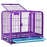 Cage Folding 2 Türkiste mit Non-Chew Metall Tablett Große Black Metal Pet Carrier Pet Träger Dog Cage Dog Zaun Pet Isolation Supplies-lila (größe : 60 * 44 * 56cm)