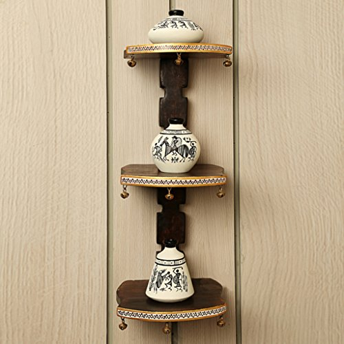 ExclusiveLane Wooden Wall Shelves With Handpainted Terracotta Pots-Wall Shelf Wall Daccor Wall Corners Decorative Shelves Home Decoratives