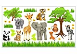 088 Wandtattoo Baby Zoo Dschungel Tiere Safari Löwe Elefant Giraffe (1250 x 700 mm)