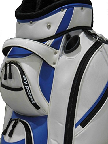Motor Caddy Golf Cart Bag Bag Waterproof Material And Dry Pocket - WHITE/BLUE