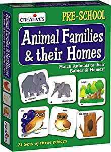 Creative's Animal Families and Their Homes Card Game (Multi-Color, 63 Pieces)
